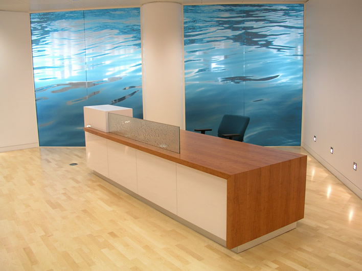 Cherry Veneered Reception Desk White Painted Front Panels Gl Privacy Screen
